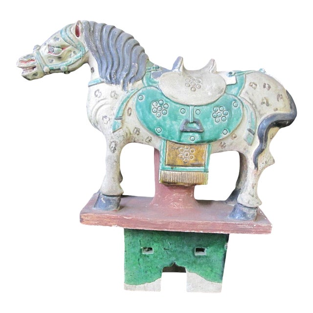Early 20th Century Horse on Stand Chinese Green Sancai Glaze Terra Cotta Pottery Figurine For Sale