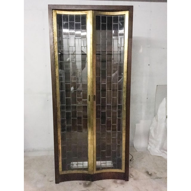 Heritage Mid-Century Modern Brass & Lead Glass Cabinet - Image 3 of 6