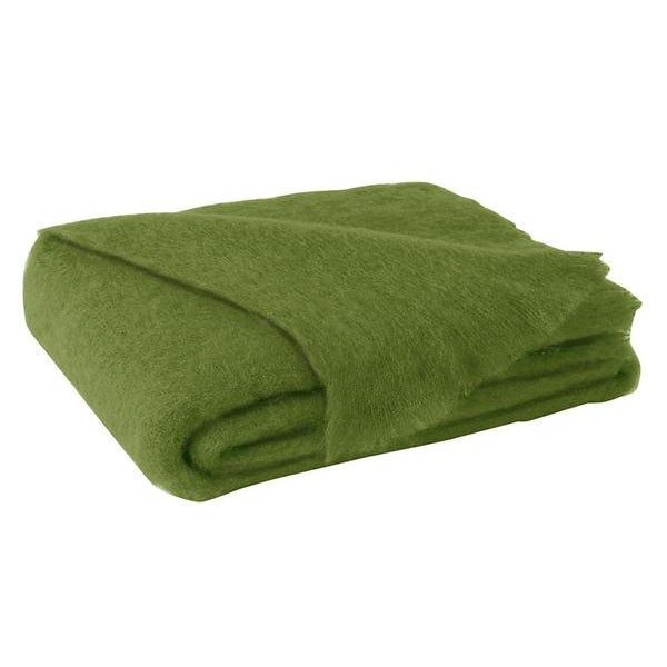 Traditional Lime Brushed Mohair Throw For Sale - Image 3 of 3