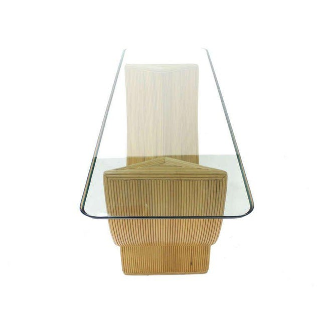 Midcentury Rattan U Shape Base Glass Top Console Sofa Table For Sale - Image 4 of 8