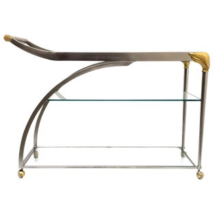 20th Century Hollywood Regency Steamline Bar Cart For Sale