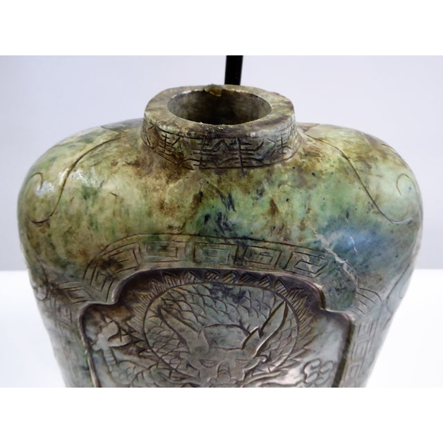 Large Carved Asian Soapstone Vessel Table Lamp 1940s For Sale In Miami - Image 6 of 11