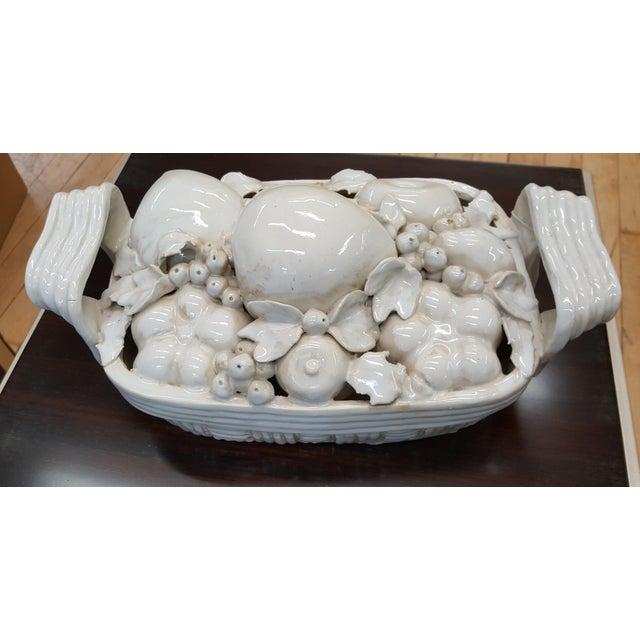 2010s Decorative White Ceramic Fruit Basket For Sale - Image 5 of 5