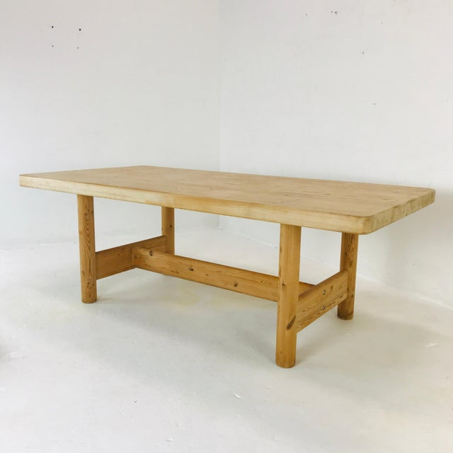 Tan Substantial Solid Scandinavian Pine Butcher Block Dining Table For Sale - Image 8 of 13
