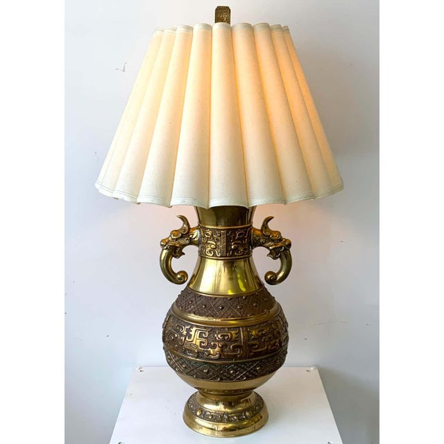 Brass Chinese Brass Archaic Lamp, by Marbro Lamp Co. For Sale - Image 8 of 12
