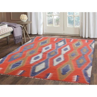 """Vintage American Indian Navajo Flat Weave Hand-Woven Rug - 4'9"""" X 6'5"""" Preview"""