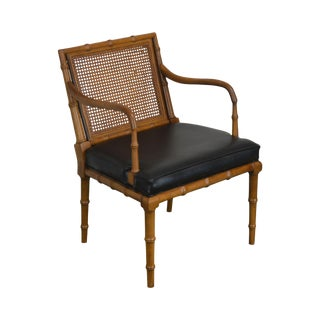 Faux Bamboo Cane Back Vintage Armchair by Century