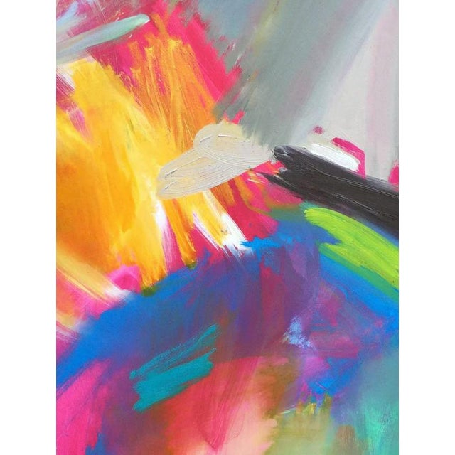 """""""Here Comes The Sun"""" is a stunning abstract expressionist painting on Belgian linen canvas by one of Chairish's top..."""