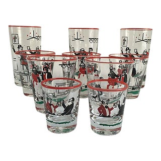 Mid-Century Illustrated Bar Glasses - Set of 10 For Sale