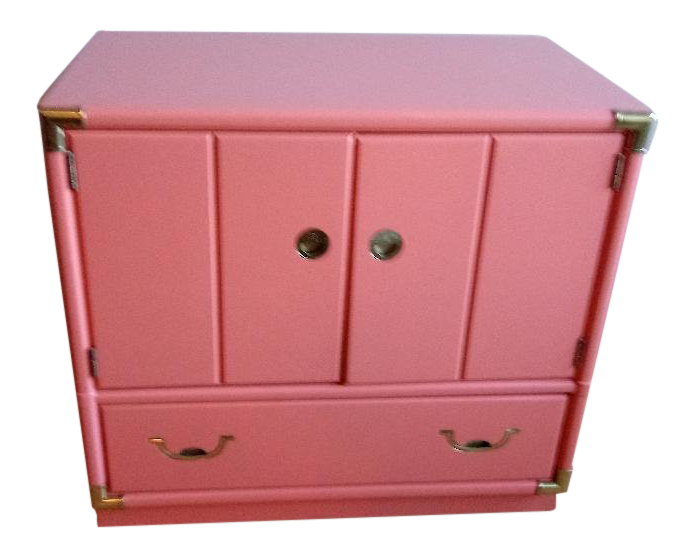 1960s Boho CHic Drexel Accolade Campaign Coral Nightstand Side Table