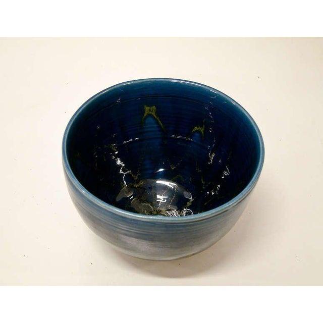 Polia Pillin 1950s Polia Pillin Blue Hi-Glaze Bowl For Sale - Image 4 of 6