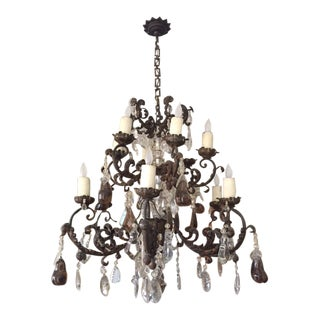 18th Century French Iron and Tole Chandelier