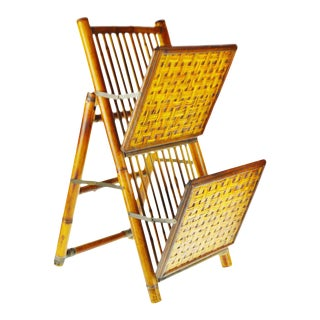 Mid Century Bamboo and Rattan Two Tier Folding Magazine Rack For Sale