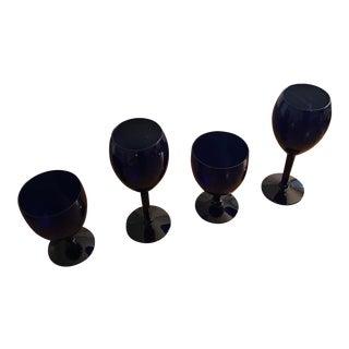 Vintage Blue Glasses Wine & Water Glasses - Set of 4 For Sale