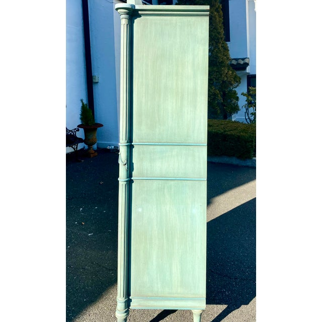 Lewis Mittman Blue Painted Louis XVI Style Armoire For Sale - Image 10 of 13