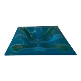 Vintage Higgins Glass Teal and Blue Tray For Sale