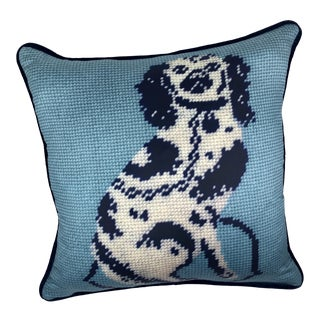 """Staffordshire Blue Dog 10"""" Blended Down Pillow / Textile Art For Sale"""