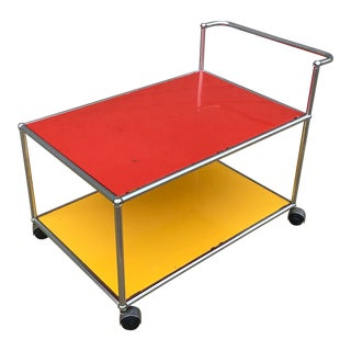 Usm Haller Red, Yellow and Chrome Low Serving Cart For Sale