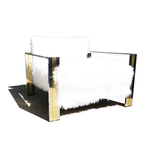 Gold Brass & Chrome Faux Sheepskin Armchair For Sale - Image 8 of 8