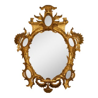18th C. Rocaille Giltwood Mirror For Sale