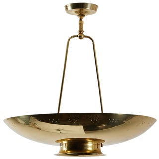 Perforated Brass Ceiling Light by Stiffel