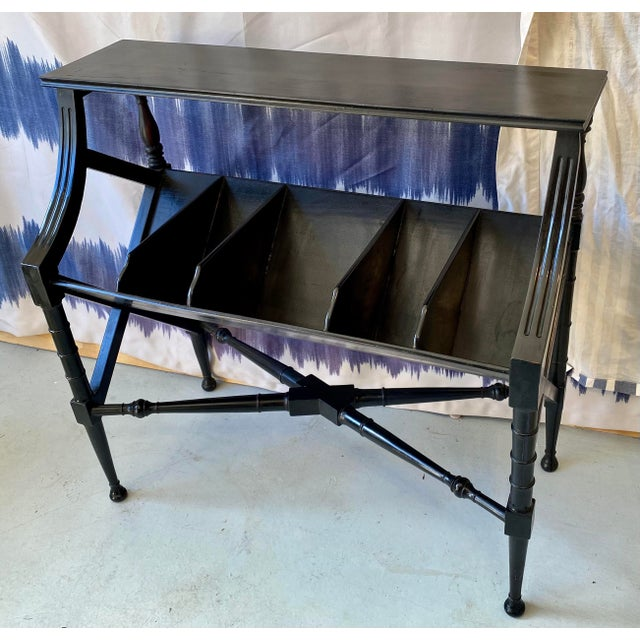 1960s Vintage Distressed Black Open Storage French Console Table Wood For Sale - Image 5 of 12