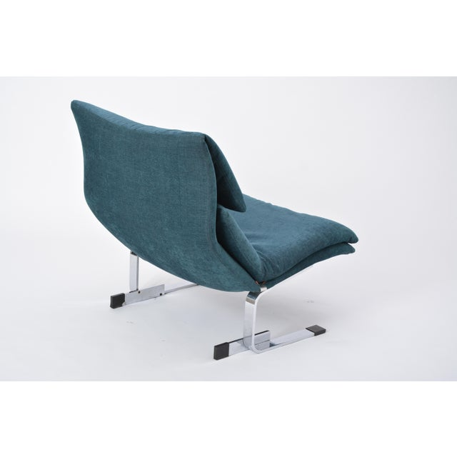 Metal Reupholstered Onda Lounge Chair by Giovanni Offredi for Saporiti, Italy, 1970s For Sale - Image 7 of 12