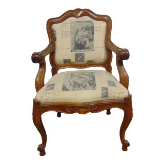 Louis XV Style Carved Walnut Arm Chair For Sale