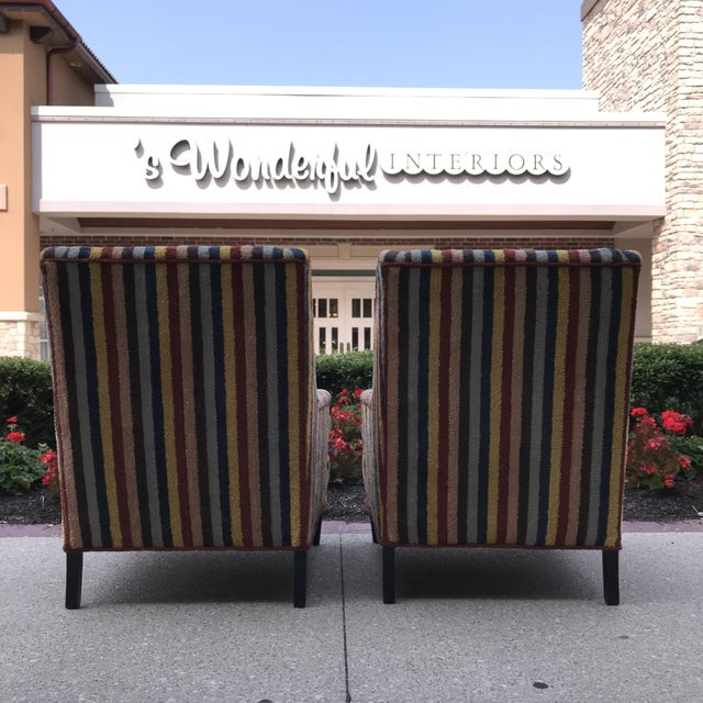 Vintage Century Furniture Kravet Vespa Multi Color Stripe Club Chairs - a Pair For Sale - Image 9 of 13
