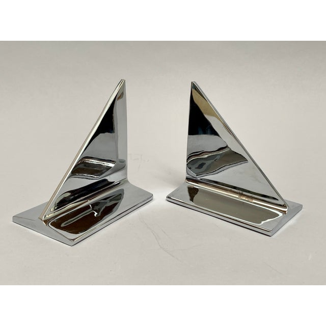 Mid-Century Abstract Modern Chrome Bookends - a Pair For Sale - Image 13 of 13