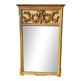 Vintage Hollywood Regency Italian Giltwood Mirror For Sale