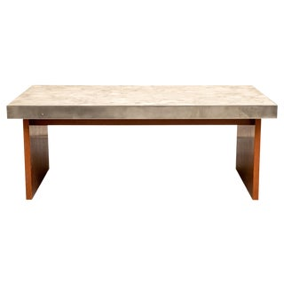 Mid Century Marble Top Teak Coffee Table For Sale