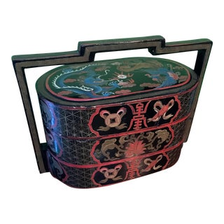 Antique Chinese Stackable Dragon Wedding Dowry Basket Hand Painted Lacquer Box