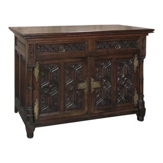 19th Century French Gothic Oak Buffet With Brass Hardware For Sale