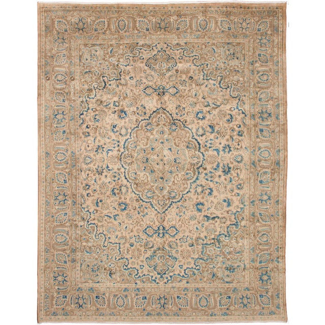 Persian Cream & Blue Rug - 9′8″ × 12′6″ For Sale - Image 10 of 10