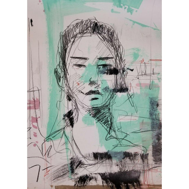 Abstract Expressionist Inspired Acrylic Portrait Painting For Sale