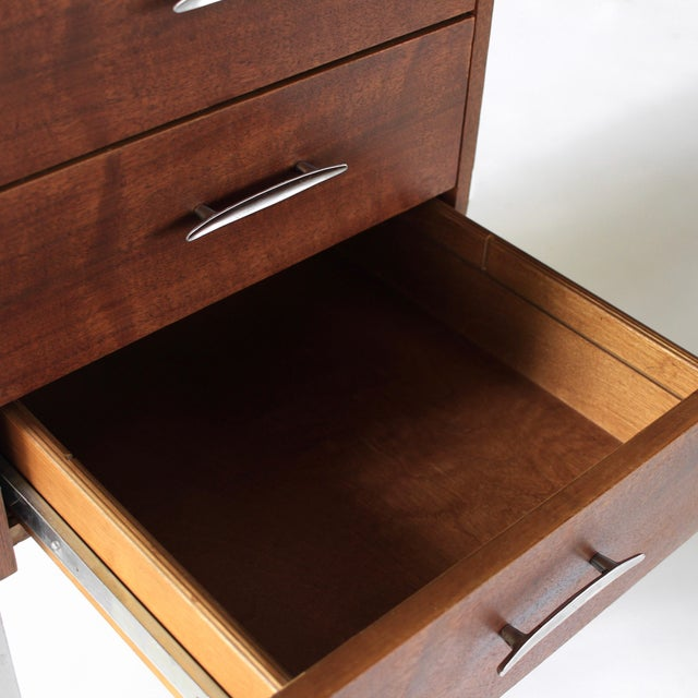 1950s Mid Century Modern Florence Knoll Style Walnut and Cane Desk For Sale - Image 11 of 13