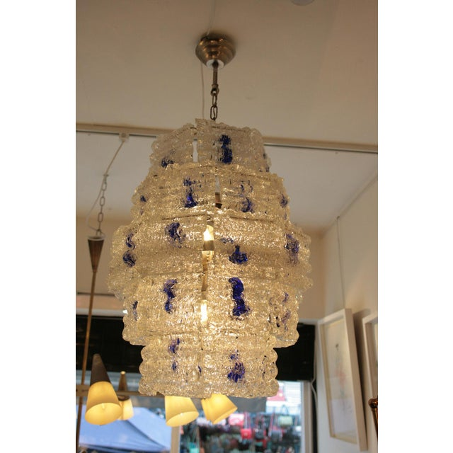 Italian Mazzega Steel and Glass Chandelier For Sale - Image 3 of 6
