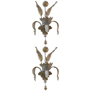 Early 20th C. Murano Glass Handblown Sconces With Milk White Glass and Gold Leaf - a Pair For Sale