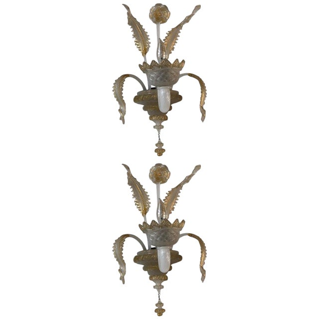 Murano Glass Handblown Sconces With Milk White Glass and Gold Leaf, Early 20th C. - a Pair For Sale