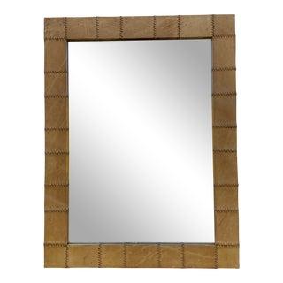 Vintage Sarreid Leather Wall Mirror For Sale