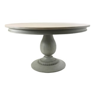 Ave Home French Country Style Gray Pedestal Dining Table For Sale