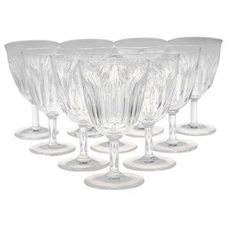 Set of Ten Baccarat Crystal 'Lorraine' Pattern White Wine Glasses, Circa 1950s For Sale