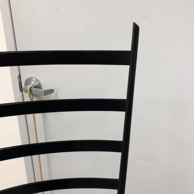 Mid-Century Italian Wood Ladder and Rushed Seat Chair For Sale In San Francisco - Image 6 of 10