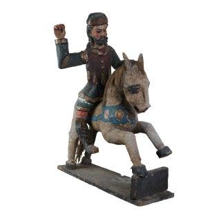19th Century Antique South American Folk Art Polychrome Santos Figure on Wood Horse Sculpture For Sale
