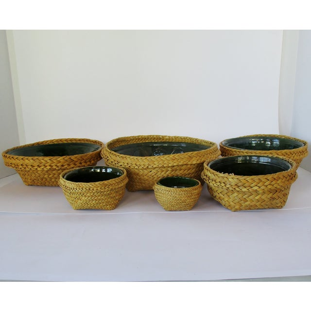 Ceramic & Wicker Nesting Bowls, Set of 6 For Sale - Image 4 of 9