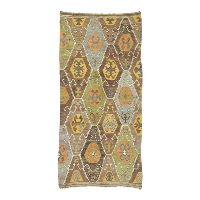 Vintage Handwoven Turkish Kilim Rug - 4′5″ × 9′2″ For Sale