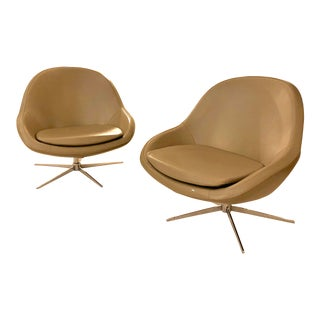 BoConcept Veneto Swivel Lounge Chairs - A Pair For Sale