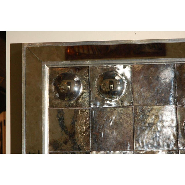 Paul Marra Contemporary Convex Mirror. Each antiqued mirrored glass tile is handmade, with mirror inset in wood frame....