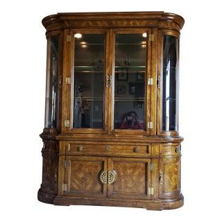 Vintage Bernhardt Hibriten Lighted Solid Wood & Glass China Cabinet